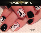 Pumpkin Nail Decal Set #2 Grinning Halloween Nails Jack O Lantern NAILTHINS