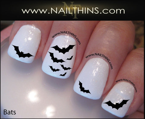 Bat Nail Decals Scary Bats Nail Art Halloween Vampire Nail Art by NAILTHINS