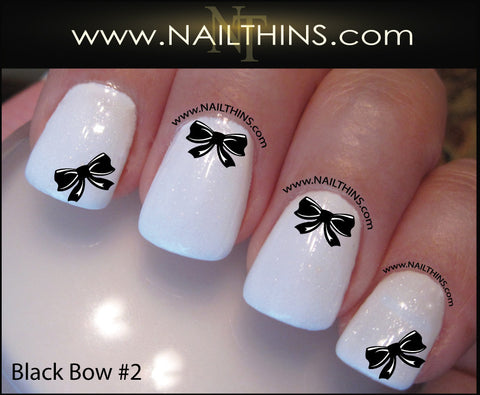 Black Bows #2 Nail Decal NAILTHINS Nail Design