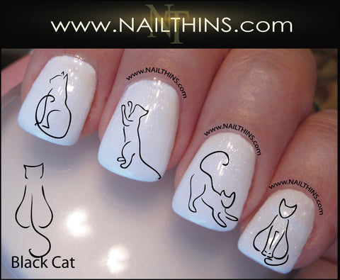 Black Cat Nail Decals, Nail Art Designs by NAILTHINS