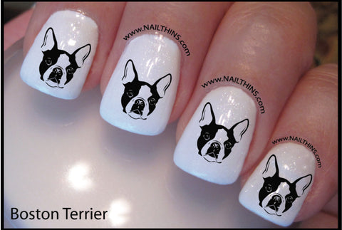 Boston Terrier Nail Designs NAILTHINS Nail decal Nail Art Nail transfer