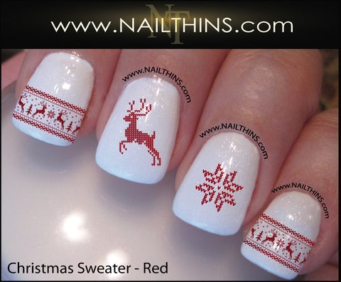 Christmas Sweater Nail Decal Designs Set #1 by NAILTHINS