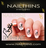 Deer Heart Nail Decal, Browning, buck head nail art by NAILTHINS