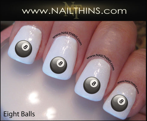 Eight Ball Nail Decal Pool Balls Nail Art Design by NAILTHINS