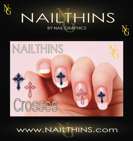 Crosses NAILTHINS Red, Black or Blue Nail Decal
