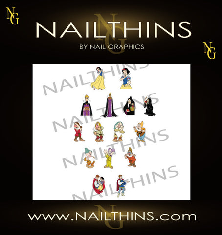 Snow White NAILTHINS  nail decals Prince Charming, Maleficent, and Seven Dwarfs