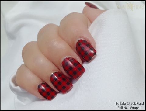 Buffalo Plaid nail wrap nail decals by NAILTHINS