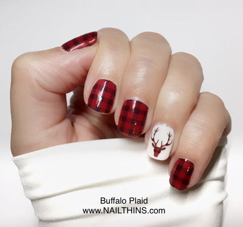 Buffalo Plaid Deer Head Nail Decal, nail wrap, nail art by NAILTHINS