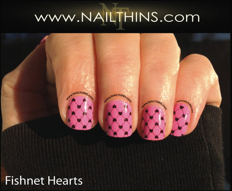 Fishnet and Hearts Nail Decal Full Nail Wraps by NAILTHINS