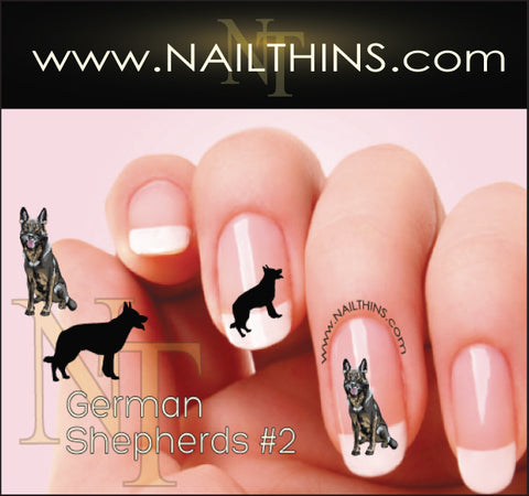 German Shepherd Style #2 NAILTHINS Nail Art Decal Transfer