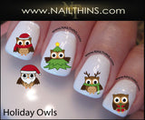 Holiday Owls Christmas Nail Decal by NAILTHINS