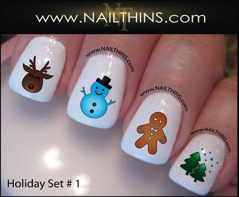 Holiday Nail Decal Set No. 1 Christmas Nail Art by NAILTHINS