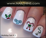 Holiday Nail Decal Set No. 3 Christmas Nail Art by NAILTHINS