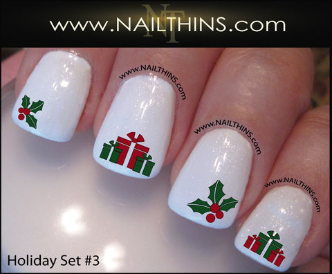 holiday nail decal set no 3 christmas nail art by nailthins