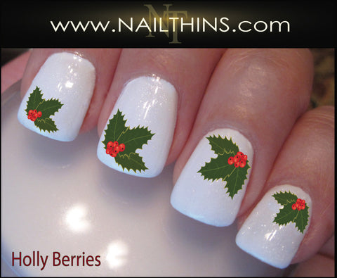 Holly Berry Nail Decal Holly Berries Holiday Nail Art by NAILTHINS