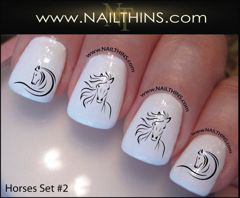Horse Nail Decal SET No. 2 Horse Head nail designs by NAILTHINS - Horse Nail Decal SET No. 2 Horse Head Nail Designs By NAILTHINS