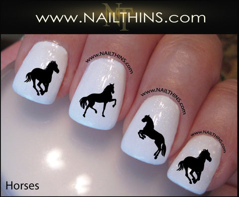 Horse Nail Decal Silhouette by NAILTHINS Horses nail art designs