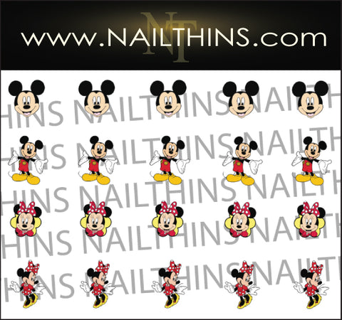 Mickey and Minnie NAILTHINS Nail Decal Nail Art Nail Designs