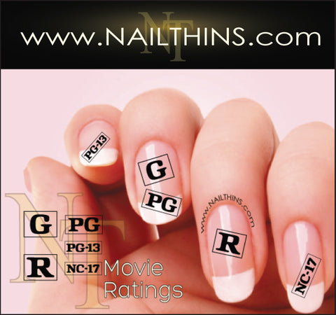 Movie Ratings NAILTHINS Nail Art Decal Transfer