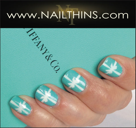 Blue Box With Ribbon Nailthins Full Nail Wrap Nail Decal Nail Art