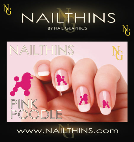 Standard Poodle Pink NAILTHINS Silhouette Nail Decal
