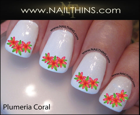 Coral Plumeria Nail Decals Hawaii Flower NAILTHINS Tropical Nail Designs