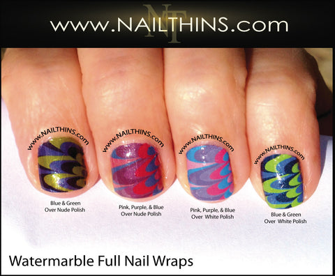 Watermarble Full Nail Wraps Water Marble Nail Art by NAILTHINS