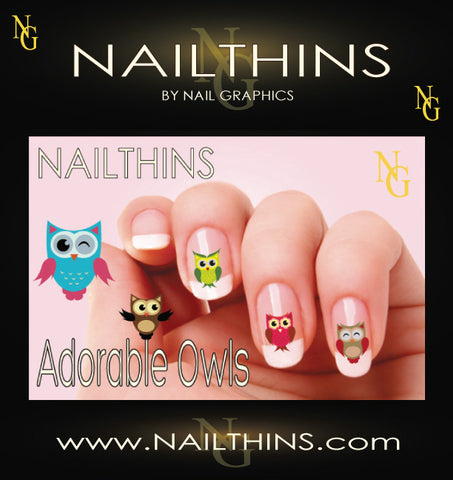 Owls NAILTHINS Nail Decal