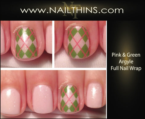 Pink & Green Argyle Nail Decals Full Nail Wrap Nail designs NAILTHINS