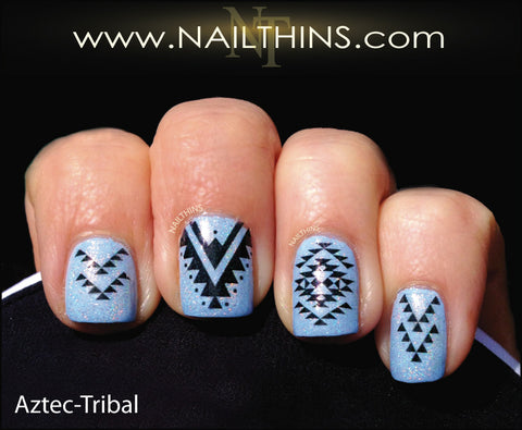 Aztec Nail Decal Tribal nail art designs by NAILTHINS