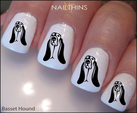 Basset Hound Nail Decal by NAILTHINS Nail Art Overlay