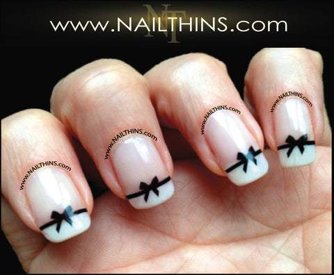 Black Bows Nail Decal NAILTHINS Nail Design