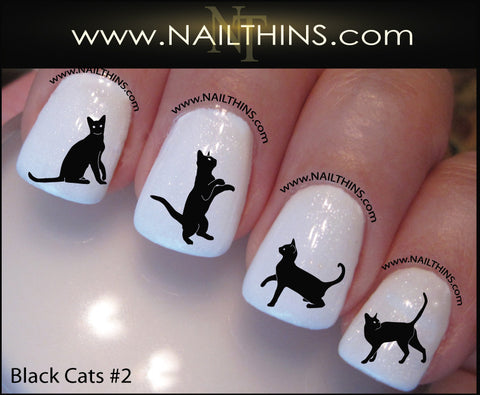 Black Cat Nail Decals set number 2 Nail Art Designs by NAILTHINS