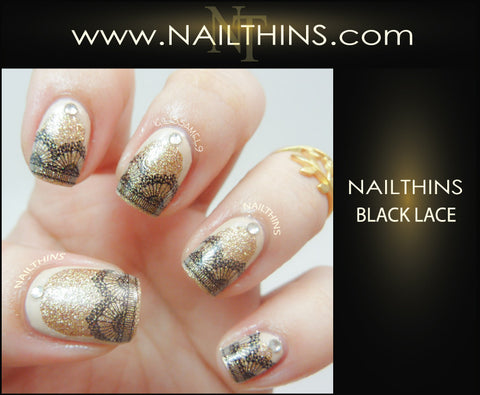 Lace Nail Decals set #1 NAILTHINS Black Lace