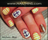 Anchor NAILTHINS  Red, Blue or Black  Nail Decal Nail Art Transfers
