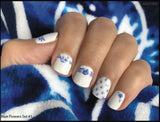 Blue Flower Nail Decal and Nail Wraps Set #1