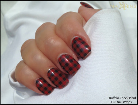 Buffalo Check Nail Wraps NAILTHINS Full Nail Wraps, Nail Decals, Nail Art
