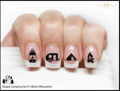 Camping nail decals by NAILTHINS Happy Camper nail wraps