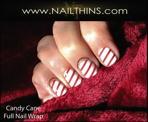 Candy Cane Nail Decal Full Nail Wrap  by NAILTHINS
