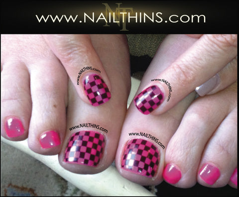 Checkerboard Nail Decal Full Nail Wraps Checker Board Nail Art