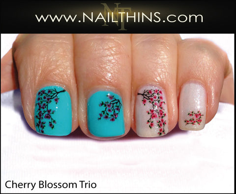Cherry Blossom Nail Decals, Cherries Trio Nail Art Designs by NAILTHINS