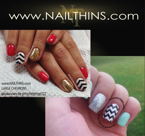 Chevron Zig Zag Multi color & size NAILTHINS Nail Art Decal Nail Transfer Designs