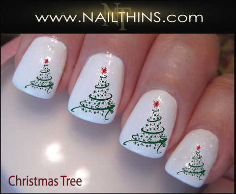 Christmas Tree Nail Decal Holiday Tree Set Number 1 by NAILTHINS