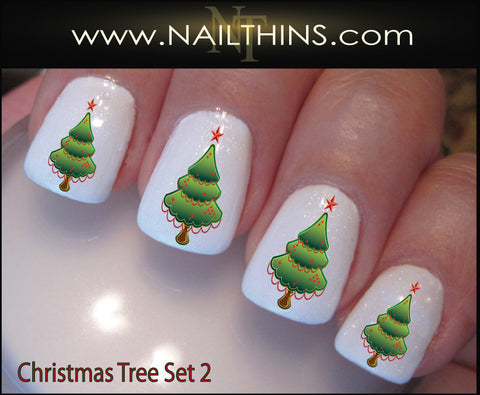 Holiday Tree Nail Decal Set 2 Christmas Tree Nail Art by NAILTHINS