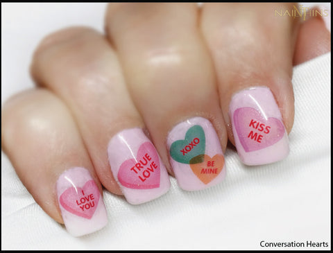 Conversation Heartsl nail decals by NAILTHINS Valentine Nail Art, Nail Designs
