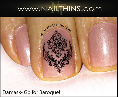 Baroque Nail Decal Damask nail art designs by NAILTHINS