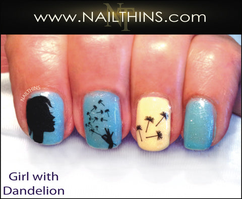 Girl Blowing Dandelion Seeds Nail Decal by Nailthins