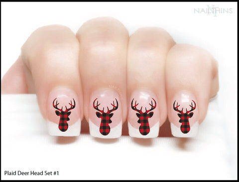 Buffalo Plaid Deer Head Nail Decal Nail Wrap Nail Art By Nailthins