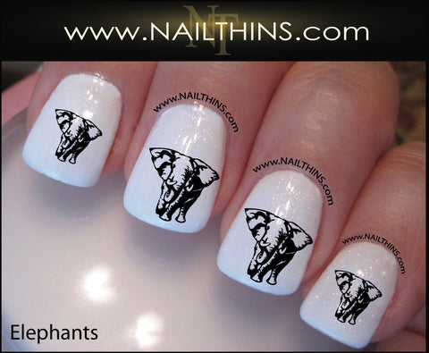 Elephant Nail Decal  by NAILTHINS Elephants nail art designs