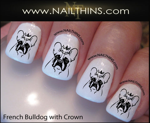 French Bulldog Nail Decal Bull dog with crown NAILTHINS Nail decal Nail Art Nail transfer